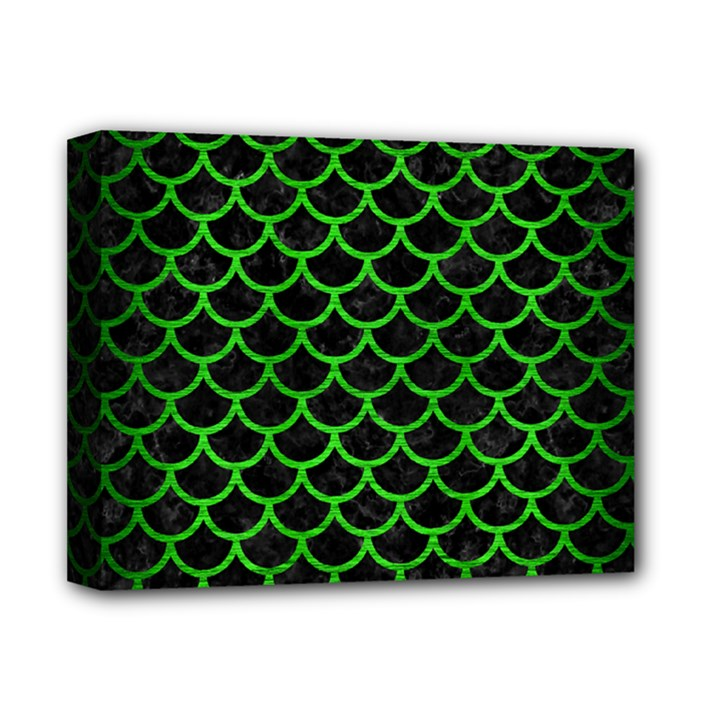 SCALES1 BLACK MARBLE & GREEN BRUSHED METAL Deluxe Canvas 14  x 11