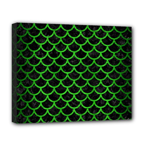 Scales1 Black Marble & Green Brushed Metal Deluxe Canvas 20  X 16