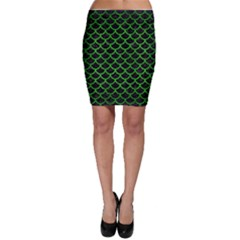 Scales1 Black Marble & Green Brushed Metal Bodycon Skirt
