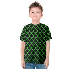 Scales1 Black Marble & Green Brushed Metal Kids  Cotton Tee