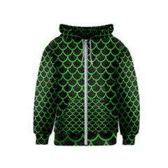 Scales1 Black Marble & Green Brushed Metal Kids  Zipper Hoodie