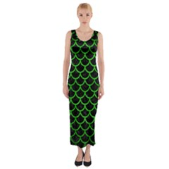 Scales1 Black Marble & Green Brushed Metal Fitted Maxi Dress