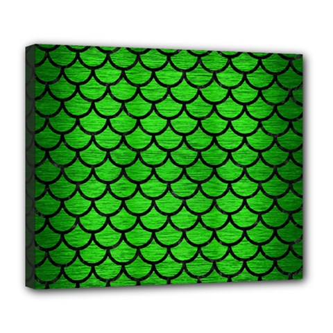 Scales1 Black Marble & Green Brushed Metal (r) Deluxe Canvas 24  X 20