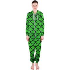 Scales1 Black Marble & Green Brushed Metal (r) Hooded Jumpsuit (ladies)