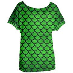 Scales1 Black Marble & Green Brushed Metal (r) Women s Oversized Tee