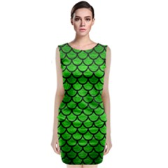 Scales1 Black Marble & Green Brushed Metal (r) Classic Sleeveless Midi Dress