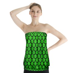 Scales1 Black Marble & Green Brushed Metal (r) Strapless Top