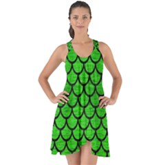 Scales1 Black Marble & Green Brushed Metal (r) Show Some Back Chiffon Dress