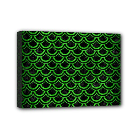 Scales2 Black Marble & Green Brushed Metal Mini Canvas 7  X 5