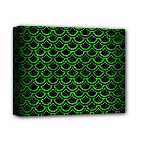 Scales2 Black Marble & Green Brushed Metal Deluxe Canvas 14  X 11
