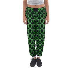 Scales2 Black Marble & Green Brushed Metal Women s Jogger Sweatpants