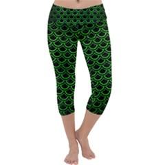 Scales2 Black Marble & Green Brushed Metal Capri Yoga Leggings