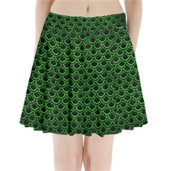Scales2 Black Marble & Green Brushed Metal Pleated Mini Skirt
