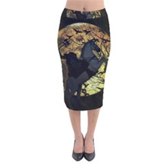 Headless Horseman Velvet Midi Pencil Skirt