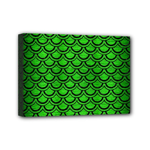 Scales2 Black Marble & Green Brushed Metal (r) Mini Canvas 7  X 5