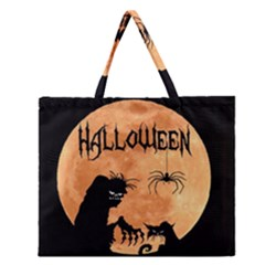 Halloween Zipper Large Tote Bag