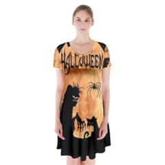 Halloween Short Sleeve V Neck Flare Dress
