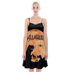 Halloween Spaghetti Strap Velvet Dress
