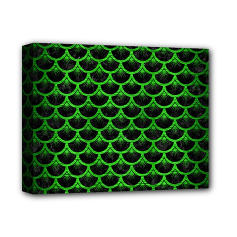 Scales3 Black Marble & Green Brushed Metal Deluxe Canvas 14  X 11