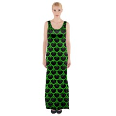 Scales3 Black Marble & Green Brushed Metal Maxi Thigh Split Dress