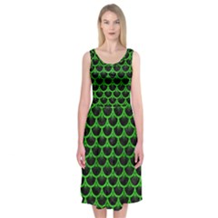 Scales3 Black Marble & Green Brushed Metal Midi Sleeveless Dress