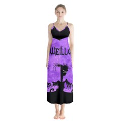 Halloween Button Up Chiffon Maxi Dress