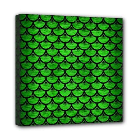 Scales3 Black Marble & Green Brushed Metal (r) Mini Canvas 8  X 8