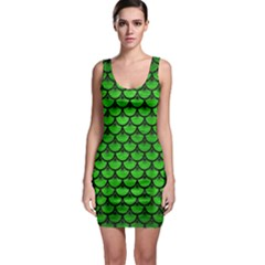 Scales3 Black Marble & Green Brushed Metal (r) Bodycon Dress