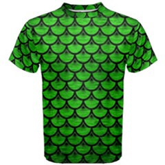 Scales3 Black Marble & Green Brushed Metal (r) Men s Cotton Tee