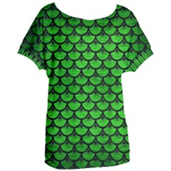 Scales3 Black Marble & Green Brushed Metal (r) Women s Oversized Tee