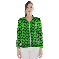 Scales3 Black Marble & Green Brushed Metal (r) Wind Breaker (women)
