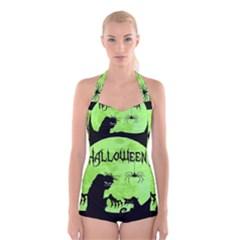 Halloween Boyleg Halter Swimsuit
