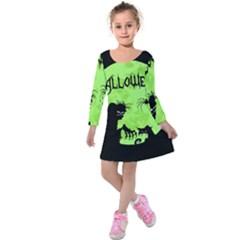 Halloween Kids  Long Sleeve Velvet Dress