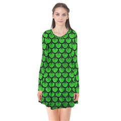 Scales3 Black Marble & Green Brushed Metal (r) Flare Dress