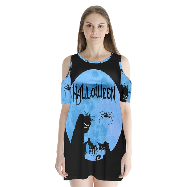 Halloween Shoulder Cutout Velvet One Piece