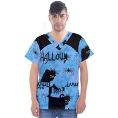 Halloween Men s V Neck Scrub Top