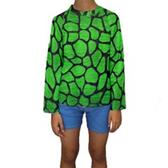 Skin1 Black Marble & Green Brushed Metal Kids  Long Sleeve Swimwear