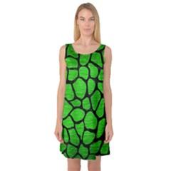 Skin1 Black Marble & Green Brushed Metal Sleeveless Satin Nightdress