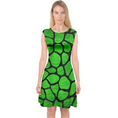 Skin1 Black Marble & Green Brushed Metal Capsleeve Midi Dress