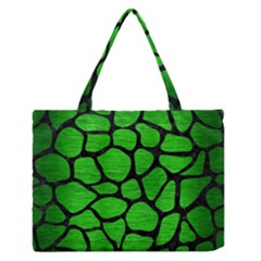 Skin1 Black Marble & Green Brushed Metal Zipper Medium Tote Bag