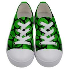 Skin1 Black Marble & Green Brushed Metal Kids  Low Top Canvas Sneakers
