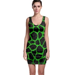 Skin1 Black Marble & Green Brushed Metal (r) Bodycon Dress