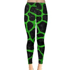 Skin1 Black Marble & Green Brushed Metal (r) Leggings