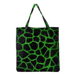 Skin1 Black Marble & Green Brushed Metal (r) Grocery Tote Bag