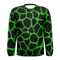 Skin1 Black Marble & Green Brushed Metal (r) Men s Long Sleeve Tee