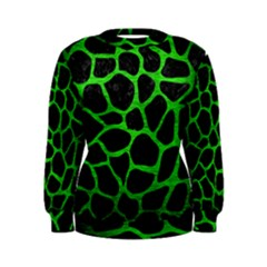 Skin1 Black Marble & Green Brushed Metal (r) Women s Sweatshirt