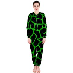 Skin1 Black Marble & Green Brushed Metal (r) Onepiece Jumpsuit (ladies)