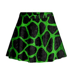 Skin1 Black Marble & Green Brushed Metal (r) Mini Flare Skirt