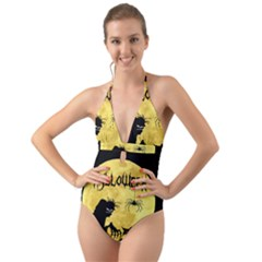 Halloween Halter Cut Out One Piece Swimsuit