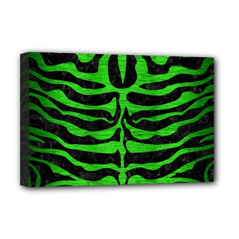 Skin2 Black Marble & Green Brushed Metal Deluxe Canvas 18  X 12